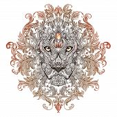 pic of lions-head  - Tattoo graphics head of a lion with a mane of black and white graphics on a white background with floral ornaments - JPG