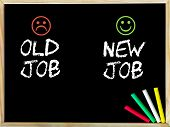 foto of emoticons  - Old job versus New job message with sad and happy emoticon faces - JPG