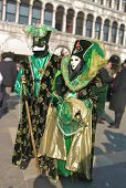 image of venice carnival  - Characters in colorful costumes at the carnival in Venice