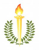 image of torches  - Torch with fire and green llaurel wreath - JPG