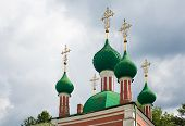 picture of cupola  - Green cupolas of the Alexandr Nevsky church in Pereslavl - JPG