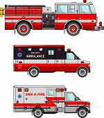 picture of fire truck  - Detailed illustration of fire truck and ambulance cars in a flat style - JPG