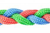 image of braids  - Braided ropes close up isolated on white - JPG