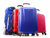 stock photo of knapsack  - Luggage consisting of large suitcases and rucksack isolated on white - JPG