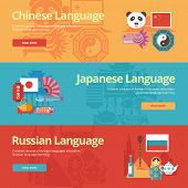 pic of pronunciation  - Flat design banners for chinese - JPG