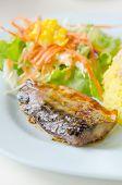 picture of plate fish food  - Grilled fish with fresh salad Saba fish teriyaki sauce japanese food - JPG