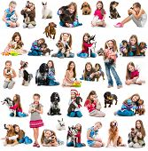 foto of white rabbit  - photo collage of a girl with with  dog and rabbit  isolated on white background - JPG