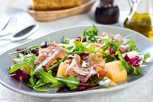 foto of rocket salad  - Prosciutto with rocket cantaloupe and radicchio salad - JPG