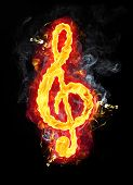 stock photo of g clef  - Fire g clef  - JPG