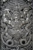 picture of metal sculpture  - Metal carving of bird in Thai literature for deccoration of Buddhist church - JPG