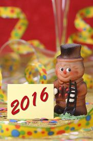 image of sweeper  - Happy new year 2016 with chimney sweeper made with marzipan as lucky charm - JPG