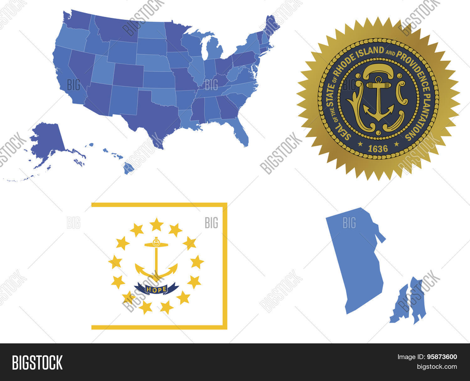 Vector Illustration Of Rhode Island State Contains High Detailed - Rhode island in usa map