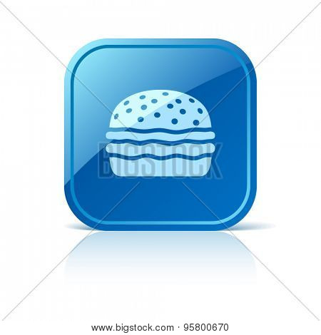 Hamburger icon on blue web button. Vector illustration