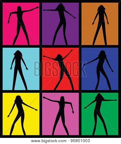 Female dancing silhouettes