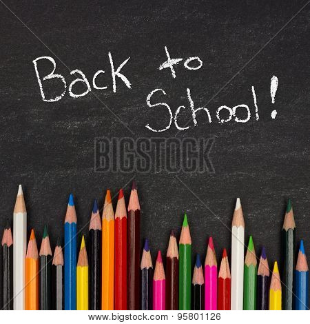 Back to School chalkboard with pencil crayon border