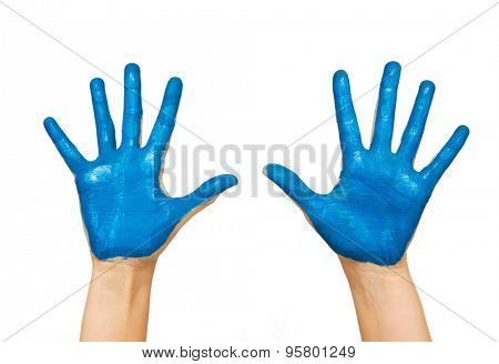 people, body parts and creativity concept - human hand painted with blue color