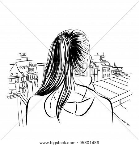 beautiful womans neck with city viev hand drawn vector illustration.