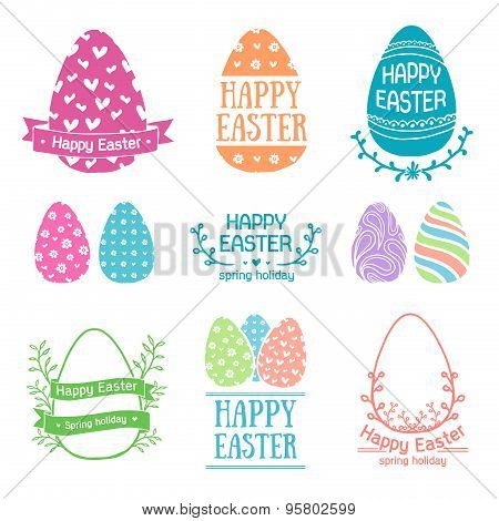 Set of colored logo templates, icons, labels, signs for a happy Easter. Silhouette egg with simple p