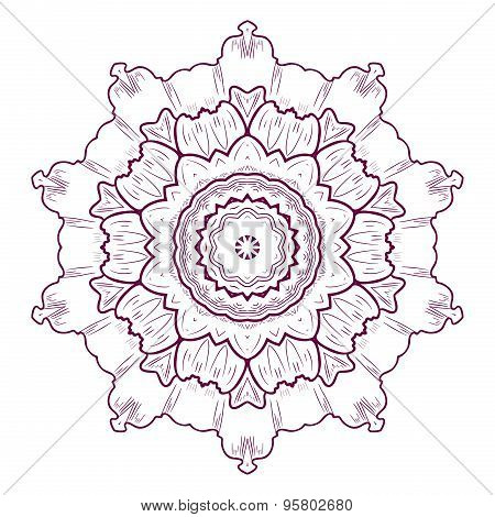 Mandala. Round Ornament Pattern. Tattoo. Vector