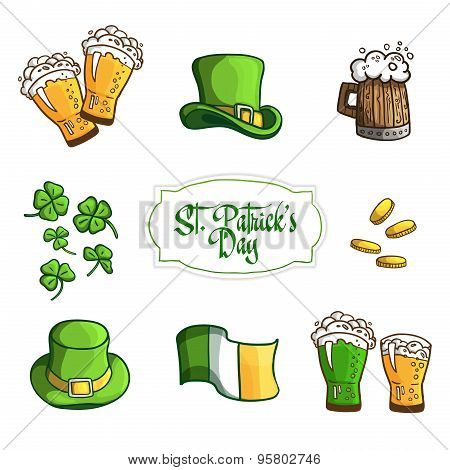 Set Items for holiday St. Patrick's Day. In cartoon style. Vector.