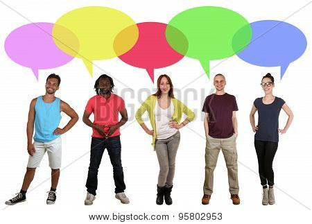 Smiling Multi Ethnic Group Of People Talking With Speech Bubble And Copyspace