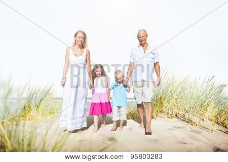 Family Walking Playful Vacation Travel Holiday Concept