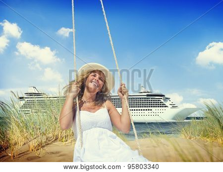 Woman Tropical Beach Freedom Cruise Relaxation Concept