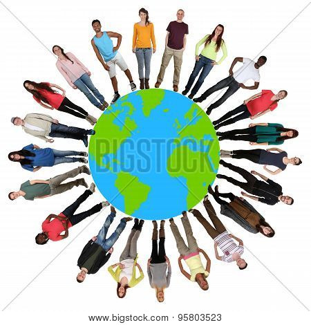 Happy Multicultural Multi Ethnic Group Of Young People On World Earth