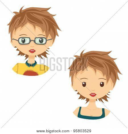 Set of avatar cute cartoon girl in glasses.