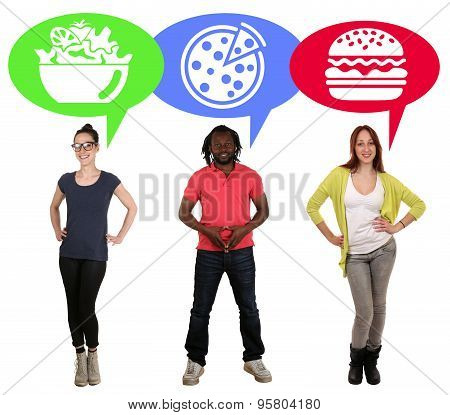 Group Of Young People Choosing Food Pizza, Salad Or Hamburger