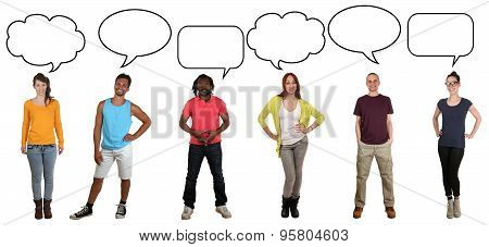 Group Of Young People Saying Opinion With Speech Bubble And Copyspace