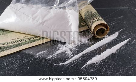 Bag Of Cocaine And Lines