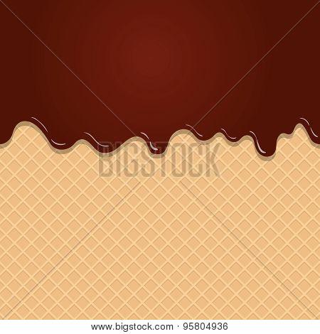 Dark Chocolate Melted on Wafer Background Vector Illustration