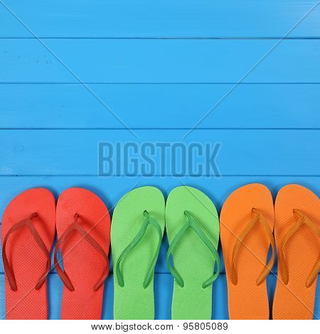 Flip Flops Sandals In Summer On Vacation