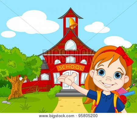 Illustration of schoolgirl goes to school