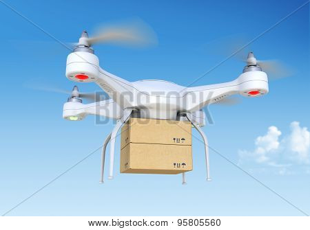 Quadcopter Drone Delivering Package