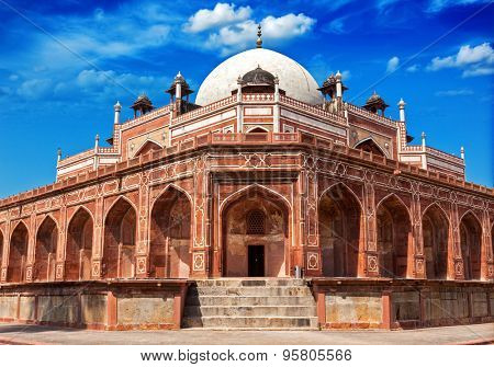 Delhi famous tourist attraction landmark - Humayun's Tomb. Delhi, India. UNESCO World Heritage Site