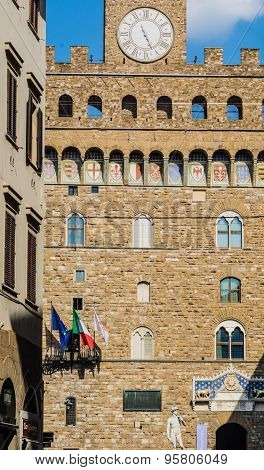 David And Palazzo Vecchio In Florence