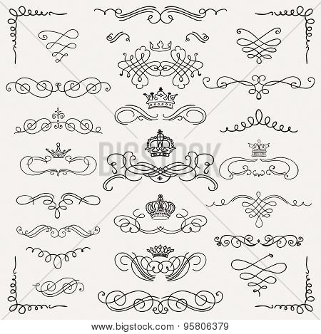 Vector Black Vintage Hand Drawn Swirls and Crowns