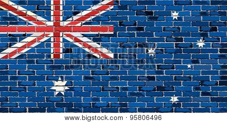 Grunge flag of Australia on a brick wall