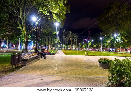 Park in Bogota, Colombia, a popular and touristic commercial recreational area