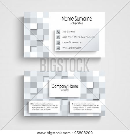 Modern Business Card With Abstract Square Template