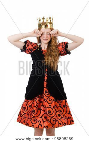 Red hair princess in orange dress isolated on white