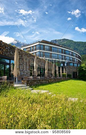 OBERSALZBERG, GERMANY - JUNE 22: Exterior of Kempinski Hotel Berchtesgaden, a Luxury 5 Star Hotel in the Bavarian Alps, with Views of Mountains, Germany on June 22, 2015