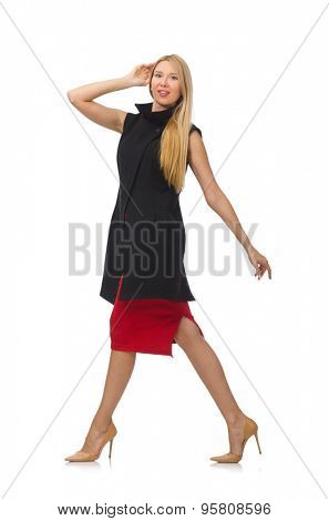 Pretty young girl in bordo skirt isolated on white