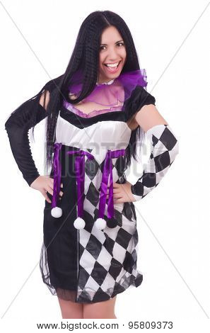 Pretty girl in harlequin costume isolated on white