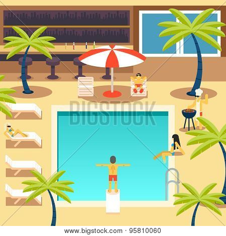 Happy People Sunny Pool Hotel Summer Vacation Tourism Journey Symbol Ocean Sea Travel Bacground Flat