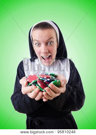 Nun in the gambling concept