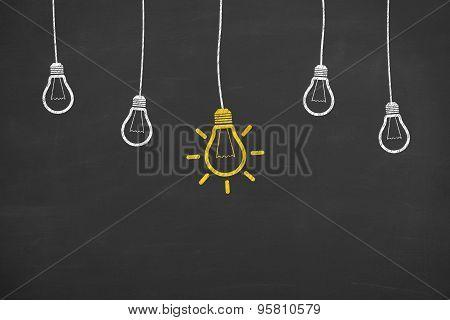 Idea Light Bulb on Blackboard