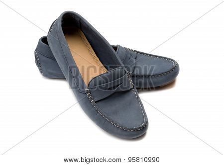 Blue, A Pair Of Suede Shoes.